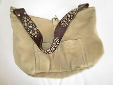 $350 TYLIE MALIBU Tan Suede Hobo Bag Leather Crystals Strap PERFECT SIZE Neutral