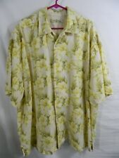 TOMMY BAHAMA 100% Linen Yellow Hibiscus Camp Shirt Sz 2XB