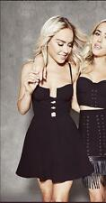 BEBE BLACK LACED UP FRONT BUSTIER FLARE DRESS NWT NEW $129 XXSMALL XXS 0