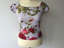 Shirt von Nice Connection in Flieder mit roten Rosen, Gr. S, TOP Zustand