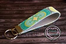 Turquoise, Green & Gray Moroccan Print Key Fob - Wristlet Style Key Chain