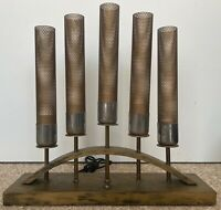 Cool Vintage 50s Brass Wood Majestic Lamp Mid Century Modern Lighting As-Is