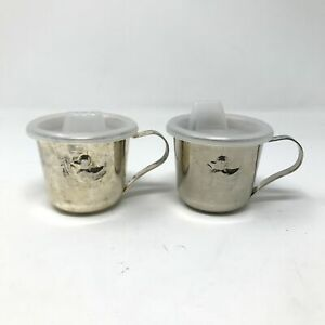 Vintage Duck Embossed Silver Plated Sippy Cups With Plastic Lid Infants Set of 2