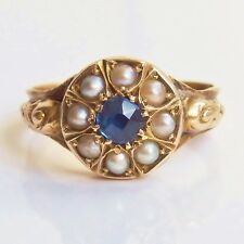 Stunning Antique Victorian 9ct Gold Sapphire & Pearl Cluster Ring c1875