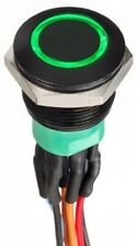 Apem PUSH BUTTON SWITCH 1A Momentary DPDT IP67 Wire Lead, Illuminated GREEN