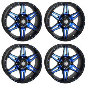 4 ATV/UTV Wheels Set 14in STI HD7 Blue 4/156 4+3 POL