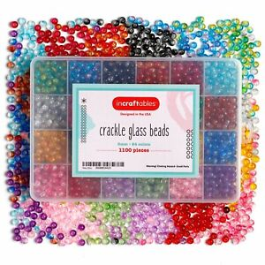 Crackle Glass Beads 24 Colors 1100pcs 6mm Kit for Jewelry Making by Incraftables