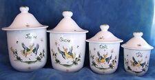 Série de 4 pots tournés et peints main céramique en FAIENCE DE MOUSTIERS