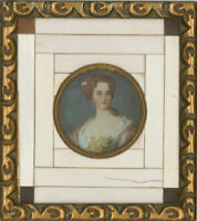 Early 20th Century Gouache Miniature - Lady with Orange Flowers