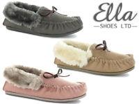 Ladies Mocassin Slippers Ella Memory Foam Faux Fur Cosy Outdoor Sole Slip Ons