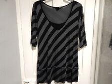 Grey & black stripped H&M top size L