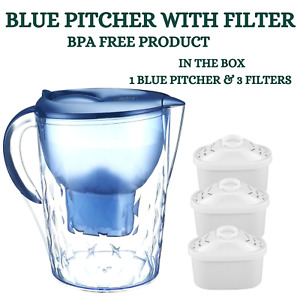 Water Filter Pitcher Purifier Jug Bench Top Kettle Portable 3.5L with 3 Filters