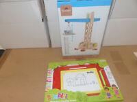 Spielzeug Set Holz Kran Baukran Magic Tafel Paket Geschenk Sonderposten Posten