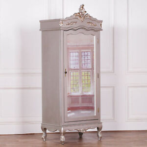 French Wooden Silver Single Door Armoire With Full Mirrored Door Wardrobe