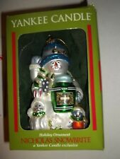 YANKEE CANDLE Hand Blown Glass Christmas Holiday Ornament NICHOLAS SNOWBRITE Box