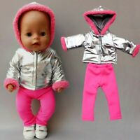 Baby New Born Dolls Clothes Silver Down Coat Pants 18 Inch Doll Fur Jacket