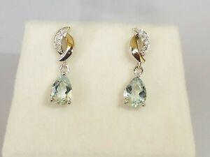 Ladies Hallmarked 18 Carat White Gold Aquamarine and Diamond Drop Earrings