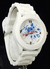BRAND NEW White coloured SILICONE strap watch with diamante face/FLOWERs
