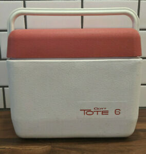 Vintage GOTT Tote 6 Lunch Box/Cooler-Ice Chest (6-Pack) #1806 Red Lid