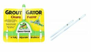GROUT GATOR TILE GROUT CLEANING BRUSHES 4 BRUSH HEADS EXTENSION POLE FLOOR TILE