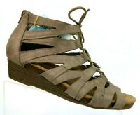 Earth Origins Harley Taupe Leather Gladiator Sandal Shoes Women's 9 WIDE