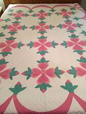 Vintage Cream/Pink/Green Applique Quilt 78in Long x 95in Wide & Mint Condition