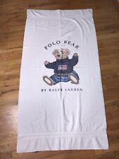 Vintage POLO Bear Beach Towel Ralph Lauren American Flag Sit Down Spell Out USA