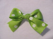 Lime Green with White Polka Dots Dog Puppy Pet Hair Bow Ribbon on Clip