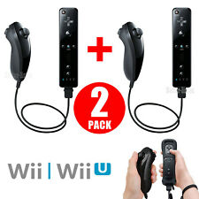 2 Pack Built in Motion Plus Remote Controller+ Nunchuck For Nintendo Wii & Wii U