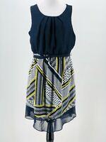 AB Studio Women's Navy Blue Blouson A-Line Hanky Hem Dress Size XL NEW