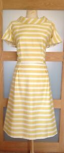EJ VERDI 1960's Style Golden Yellow/Ivory Striped Lined Dress Size 16