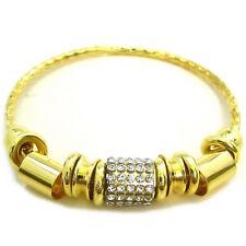 PLUS SIZE Wide Wrist GOLD METAL  Rings CRYSTAL BARREL Charm XXL BANGLE BRACELET