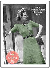 1940 S guerre shirt TAILLE ROBE VINTAGE KNITTING PATTERN-copie