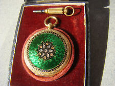 SWISS 18K SOLID GOLD ENAMEL DIAMOND PENDANT & POCKET WATCH 1890  Box/Key