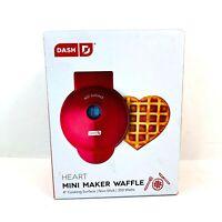 """NEW Dash HEART Mini 4"""" Waffle Maker Non Stick 350W - Red, Open Box"""