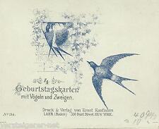 4 Geburtstagskarten mit Vögeln und Zweigen um 1900 unbeschriebene alte Karten.