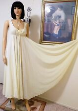 "OLGA ""Rare"" 338"" Sweep LEMON YELLOW Nylon Chiffon Bodice Nightgown size 34 bust"