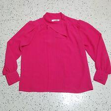 Josephine Vintage Button Down Shirt Blouse ~ Hot Pink ~ Sz 10 ~ Long Sleeve