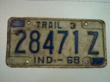 1968 INDIANA Trailer License Plate 28471Z IN X