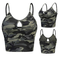 Womens Sleeveless Camouflage Print Vest Crops Blouse Cami Tank Shirt Summer Tops