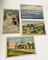 Vintage Lot of 4 Michigan Postcards MI Mackinac Island Bridge Views Scenic Town
