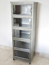 5 Glass Doors Metal Industrial Display Cabinet On Wheels Metal Storage Unit New