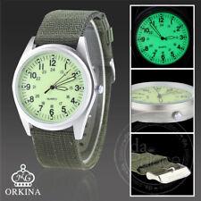 Orkina Silver Light Green Dial Automatic Quartz Nylon Fabric Strap Wrist Watch
