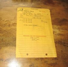 ORIGINAL EARLY THE EDISON SHOP FIFTH AVE NEW YORK PHONOGRAPH SALES RECEIPT