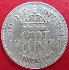 """Vintage Wartime 1940 U.K. SIX PENCE SILVER COIN, King George VI """"AU"""" Condition"""