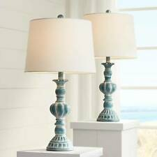 Traditional Table Lamps Set of 2 Blue Washed for Living...