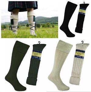 Pair of Mens Wool Scottish Highland Kilt Hose Socks UK Size 6-11 BLACK or CREAM