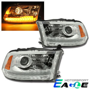 Fit 2009-2018 Dodge Ram 1500/2500/3500 LED DRL Projector Headlights Pair