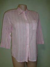 Capture top white pink stripe cotton shirt plus size 16 3/4 sleeves