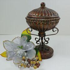 Compote Decorative Storage Urn & Lid on Metal Scroll Pedestal Stem Base